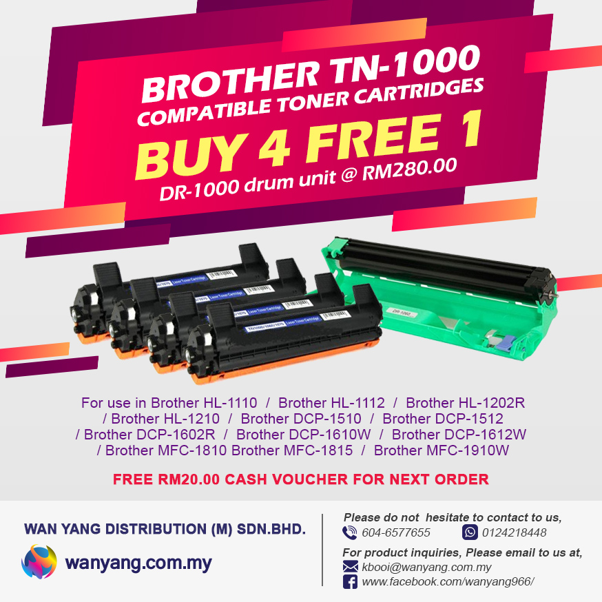 Buy two (4) free one Brother TN-1000 compatible toner cartridges free one(1)  DR-1000 drum unit